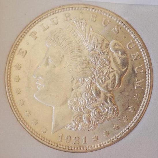 Morgan silver dollar 1921 D Gem BU Frosty white Premium better Date