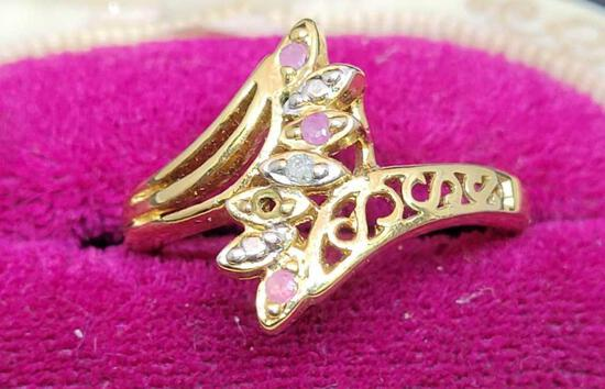 18kt gold plated diamond & Sapphire ring size 9
