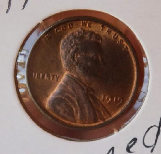 Lincoln wheat cent 1919 Gem BU red brown stunning high Grade MS++ Wow coin