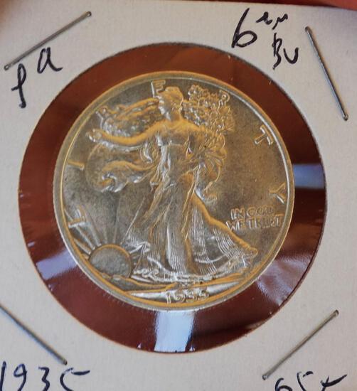Walking liberty silver half 1935 gem BU blazing Frosty white rare early year