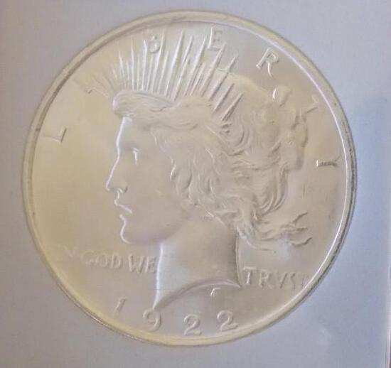 Peace silver dollar 1922 GEM BU Frosty white FRM original roll slab