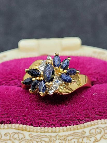 14kt gold plated Sapphire ring size 9