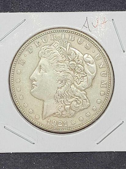 Morgan silver dollar 1921 blazing Frosty AU nice luster 90% silver