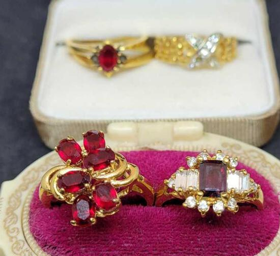 Beautiful deco ring lot 4 rings ring size 9