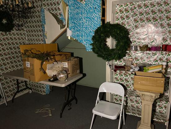 Bookcase , Chandlers nontested wreaths ribbons and garnish.
