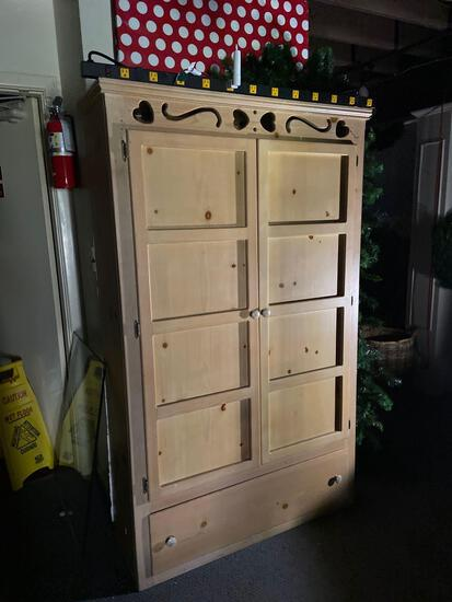 Cabinet and contents 73in tall 43in wide