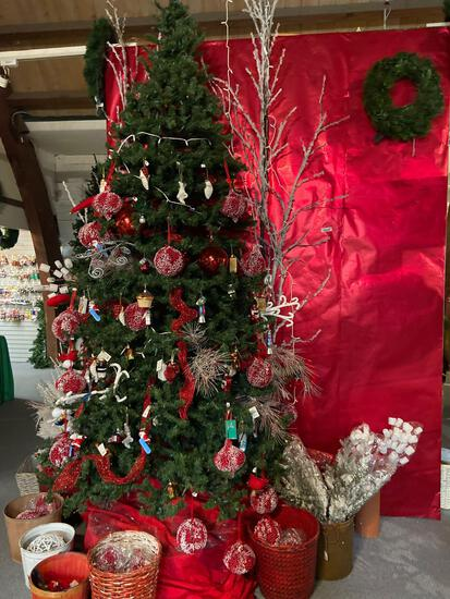 12ft Tree and high end oversize ornaments, contents