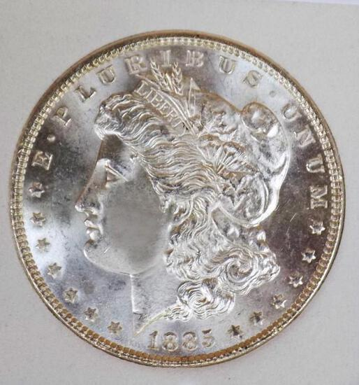 Morgan silver dollar 1885 gem bu pl stunning Uncirculated blazing white beauty