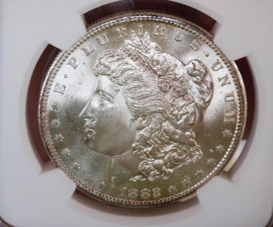 Morgan silver dollar 1882 s NGC 64+ satin white under grade premium beauty semi pl