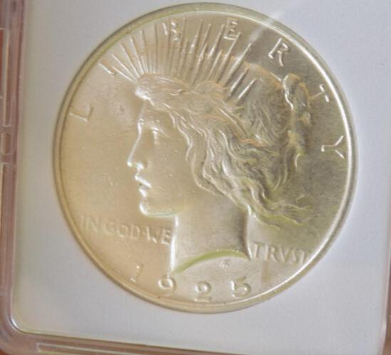 Peace silver dollar 1925 gem bu blazing white stunner premium silver dollar