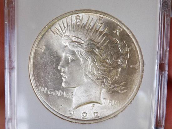 Peace silver dollar 1922 gem bu blazing Frosty white beauty stunning luster frost white