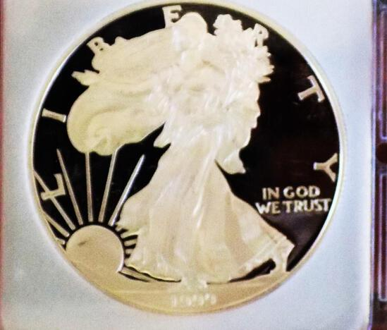 American silver eagle 1999 gem proof perfect ultra deep mirrors slabed 1 troy oz rare date