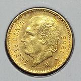 Gold Mexico 1955 5 Peso Brilliant Uncirculated