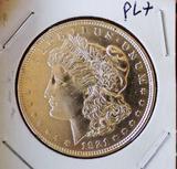Morgan silver dollar 1921 d bu++ pl+ glassy rare date with mirrors
