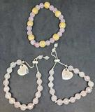 Lot of 3 bracelets XOXO Heart pendant wood beads