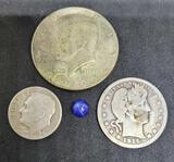 Silver coin lot 1915 barber quarter 1967 Kennedy half and 1952 Silver dime 1.43ct star Sapphire