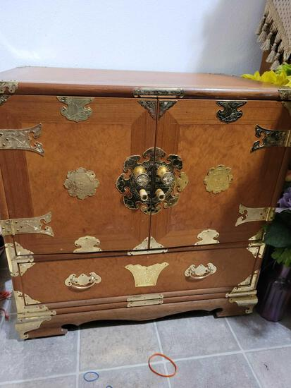 Asian cabinet wood w gold accents 3 small inside drawers