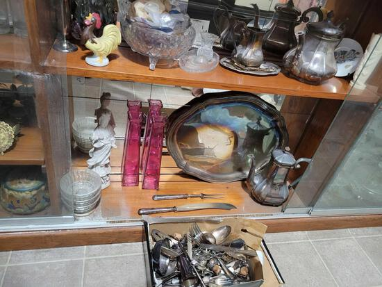 Silvertone Tea set w tray and service pieces could be silver. Crystal, Glassware, figurines and more