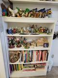 Contents on shelf including Bird and Owl figurines cherished teddies coffee mugs and more