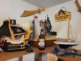 Pirate and Sailer lot toys wooden boats hats