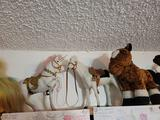 Stuffed animals. Buffalo statues Turtles pigs polar bears