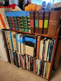 Travel books and bookcase