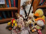 Porcelain Dolls w chairs, Stuffed ducks and dolls