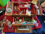 Jewelry box and contents. Costume jewelry neclaces bracelets pins