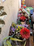 Outdoor yard art pots meatal tables glass planters. Redwood planters