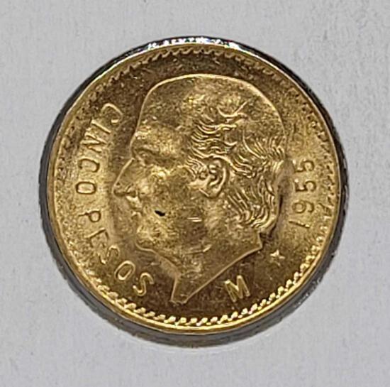 Gold Mexico 1955 5 Peso Gem Brilliant Uncirculated