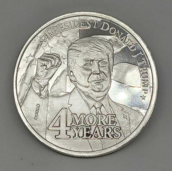 1 Troy Ounce .999 Fine Silver Donald Trump 4 More Years