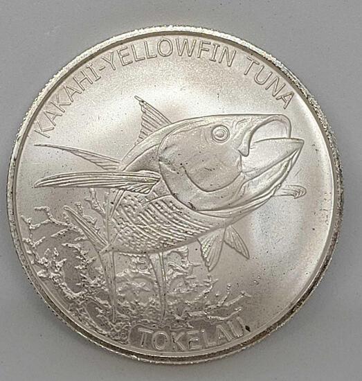 Yellowfin Tuna 1 Troy Ounce .999 Fine Silver 2014 from Tokelau