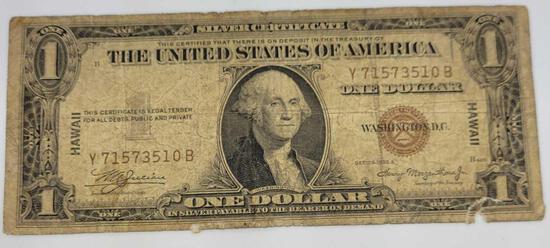1935-A $1 Hawaii Silver Certificate Emergency World War ll Issue