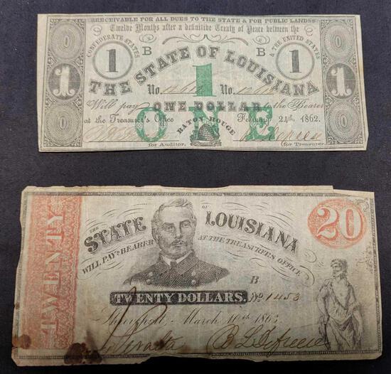 Set of 2 Rare State of Louisiana Civil War Era Confederate Obsolete Notes