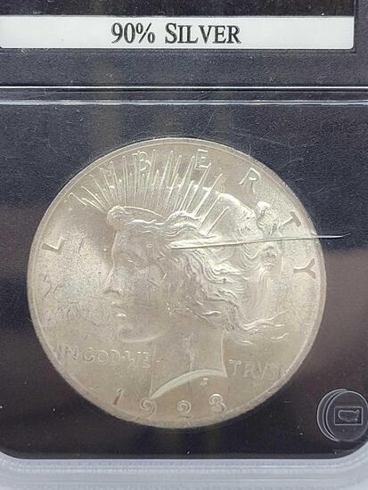 1923 Slabbed Peace Dollar Gem Brilliant Uncirculated Blast White
