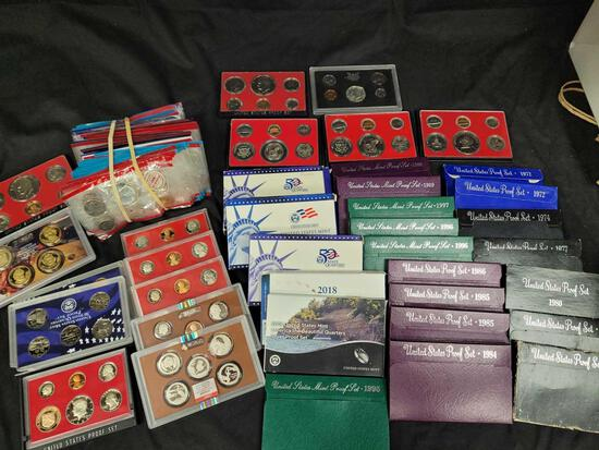Dealer Lot of Seventy US Mint Proof Sets and Mint Sets-Tons of silver