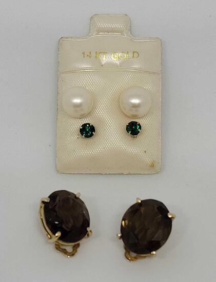 3 sets of earrings 14kt gold set