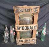 Mcdonalds Bottling Co Vintage glass bottles 5 gallon jug Visalia wooden crate. Vintage box