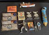 Popeye wind up tin boat,Death playing cards, pencil holder, Warrior chip, Mc Donald's nascar