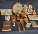 Vintage Collectibles, Signs, Large wooden fork & spoon,tablecloth, wood candlestick holder,