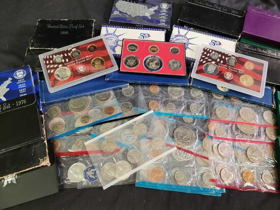 Dealer Lot of Thirty Eight US Mint Proof Sets and Mint Sets-Tons of Silver