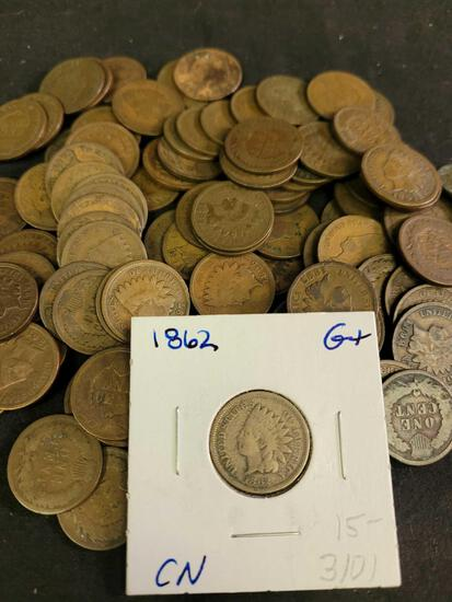 100 Mixed Date Problem-Free Indian Head Cents from 1890-1899 Good to Fine