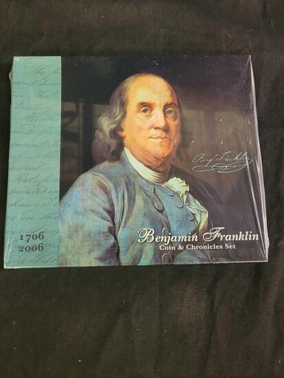 2006-P Benjamin Franklin Coin & Chronicles Set Sealed Original Box Silver Dollar Gem Mint