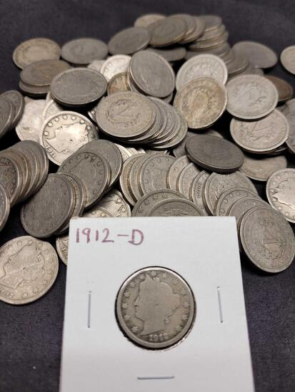 100 Mixed Date Problem-Free Liberty V Nickels from 1883-1912 Good to Fine