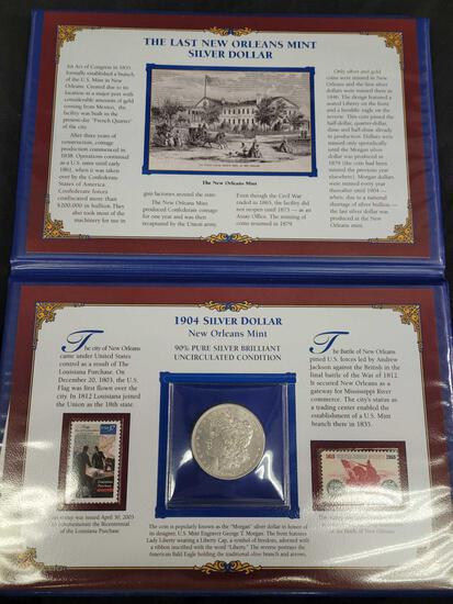 Rare and Last New Orleans Mint Silver Dollar in a Commemorative Coin and Stamp Album