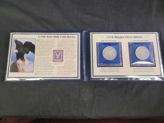 Rare and First 1878 Morgan Silver Dollar Varieties in a Commemorative Coin and Stamp Album