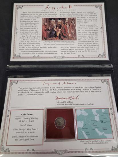 King Azes II 35 BC to 10 AD 2,000 Year-Old Ancient Silver Coin in a Commemorative Album