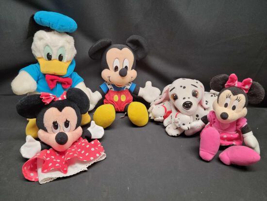 Disney Stuffed characters Donald Mickey Minnie and Dalmatians Puppet and talking Minnie