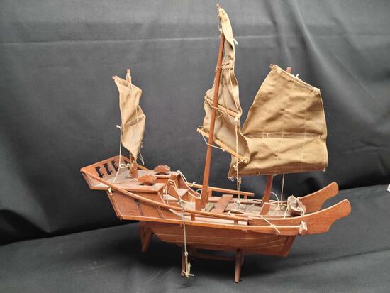 Vintage Wooden Ship w cloth sails