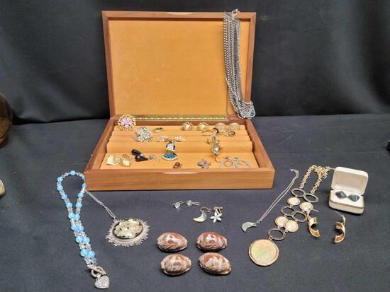 Vintage Costume Jewelry w Wood an Leather jewelry box